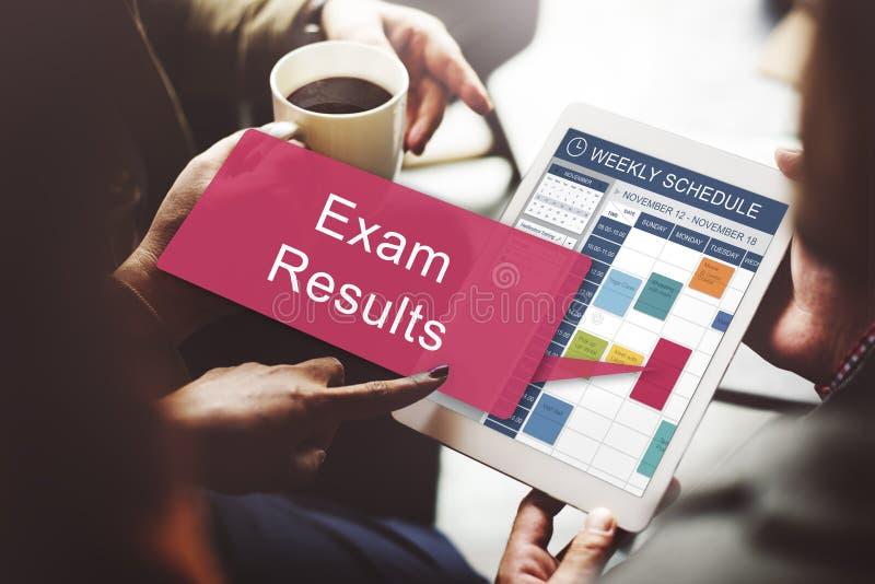 Prüfung resultiert Zeitplan-Anzeigen-Berichts-Konzept stockfoto