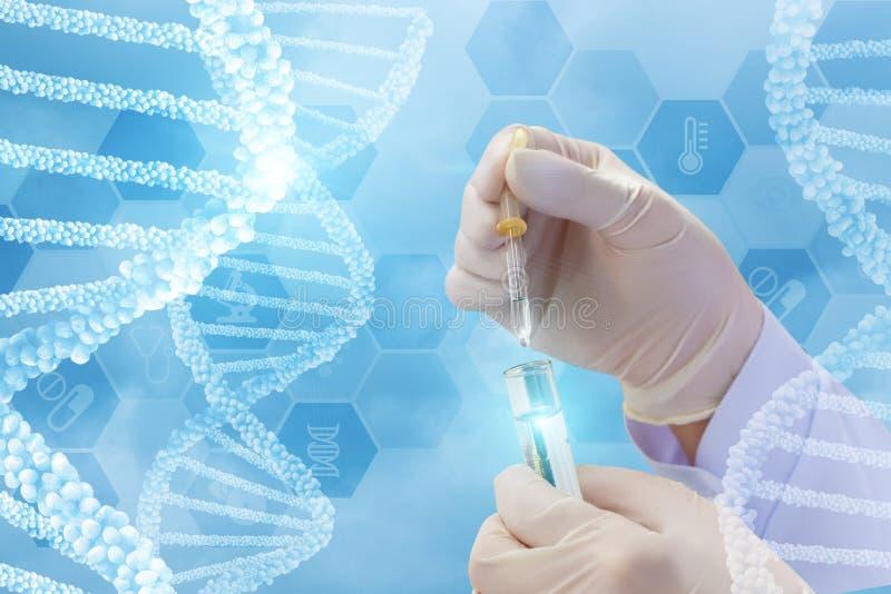 Prüfung von DNA-Molekülen stockfotos