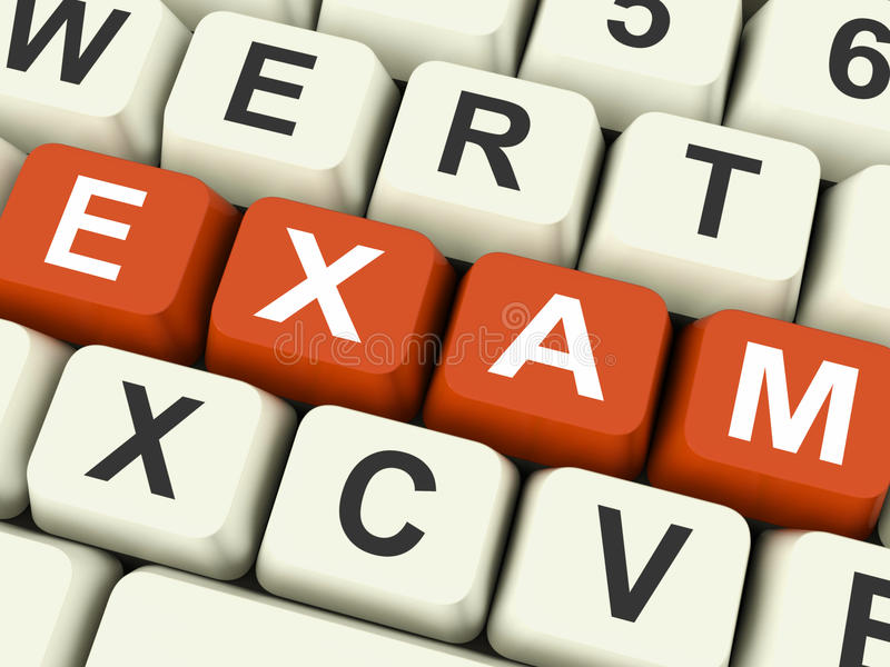 Prüfungs-Schlüssel-Show-Prüfungs-Prüfungen oder Test online lizenzfreie abbildung