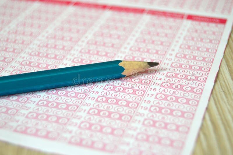 Prüfungsoptik, optisches Papier-, Studenten- und Prüfungsoptikpapier, markierte optische Papierbilder, optische Papiere für pädag stockfotografie
