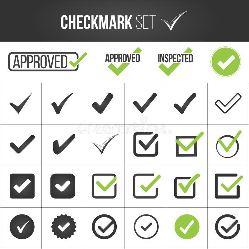 Prüfzeichen- oder Zeckenkennzeichensammlungssatz Annahme, Zustimmung, richtige Auswahl, korrekte Auswahl, wahre Wahl, positive An lizenzfreie abbildung
