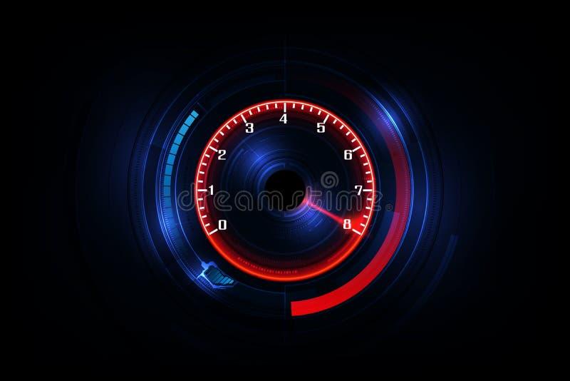 Prędkość ruchu tło z szybkim szybkościomierza samochodem Bieżny pędu tło royalty ilustracja