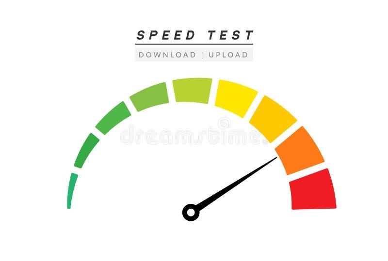 Prędkość testa interneta miara Szybkościomierz ikony postu upload ściągania ocena Szybki równy tachometr przyśpiesza ilustracji