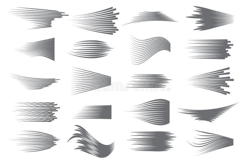 Prędkość wykłada odosobnionego set Komiczka ruchu linie dla szybkiego chodzenie przedmiota lub chodzenie osoby szybko Czerń wykła ilustracji
