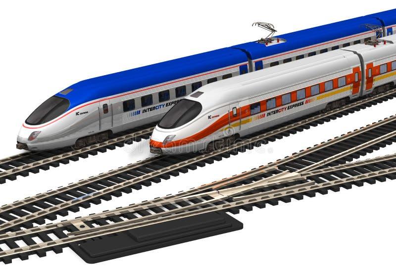 prędkość wysocy miniaturowi pociągi royalty ilustracja