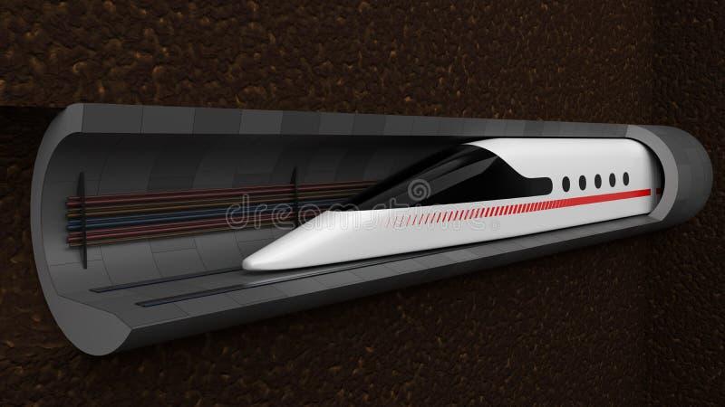 prędkość wysoki pociąg pojęcie projekt dla magnesowej lewitacji i próżnia tunelu technologii ilustracja 3 d royalty ilustracja