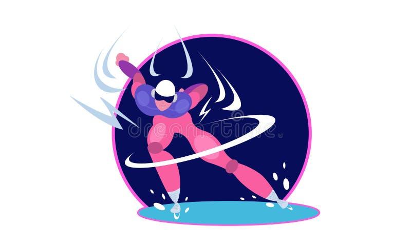 Prędkości łyżwiarka Mężczyzna postaci z kreskówki łyżwiarstwo na lodowym lodowisku royalty ilustracja