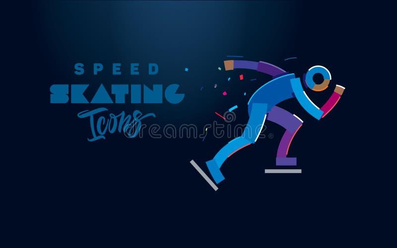 Prędkości łyżwiarska ikona ilustracja wektor