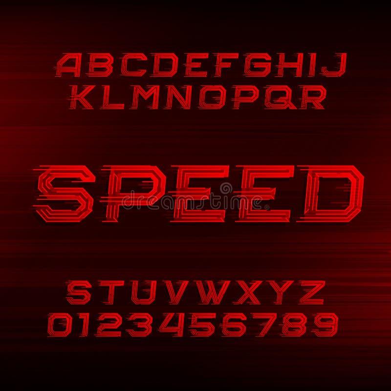 Prędkości abecadła chrzcielnica Pochyleni dynamiczni czerwień listy, liczby i ilustracja wektor