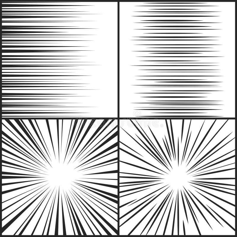 Prędkości linie, ruchu paska manga horyzontalny i promieniowy komiczny skutka wektoru set, royalty ilustracja