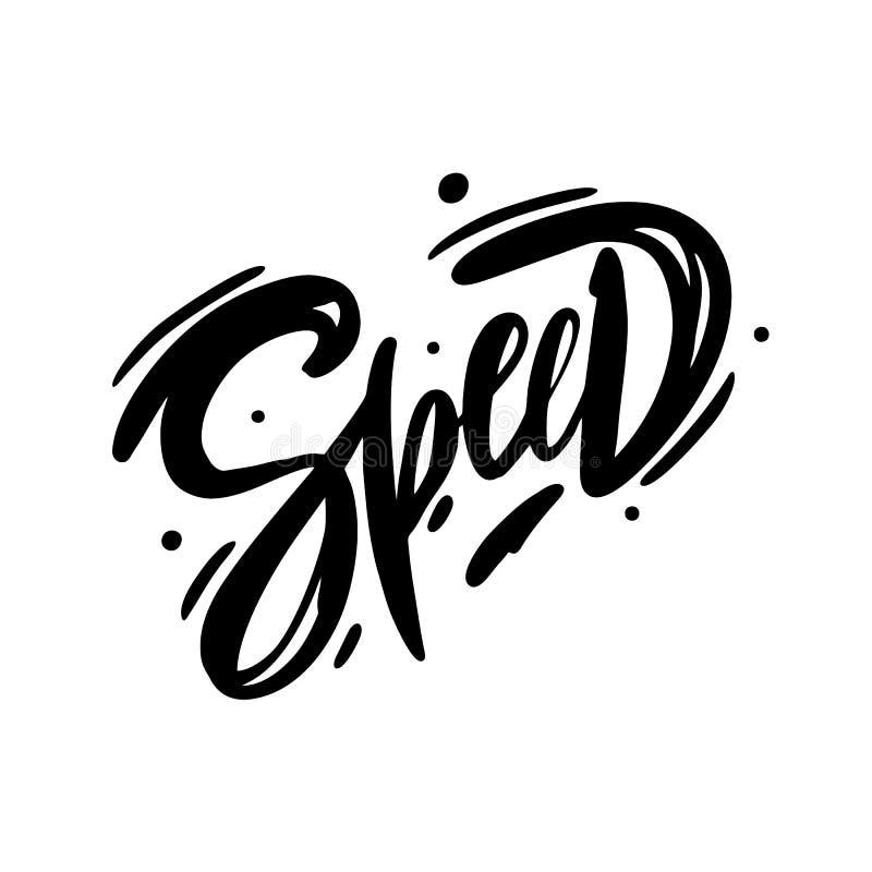 Prędkości ręka rysujący wektorowy literowanie Szybki logo samochodu wiec ilustracja wektor