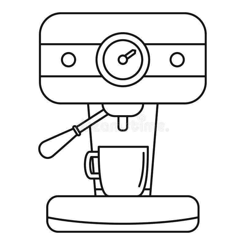 Prętowa kawowa maszynowa ikona, konturu styl ilustracji