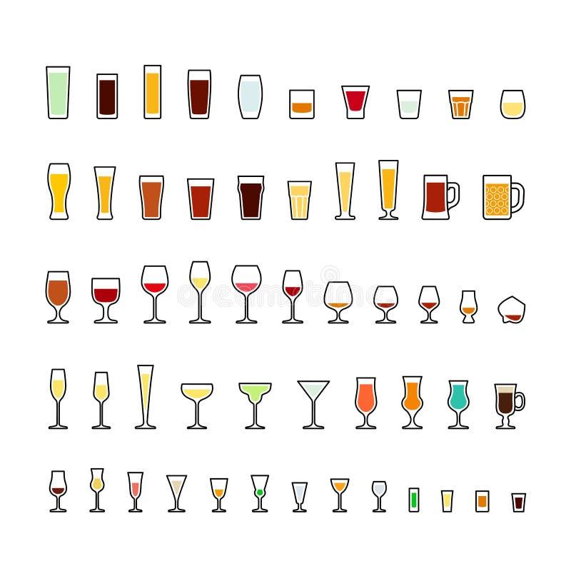 Prętowego glassware kolorowe ikony ustawiać ilustracji