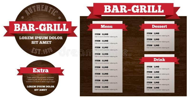 Prętowego grilla menu restauracyjny set royalty ilustracja