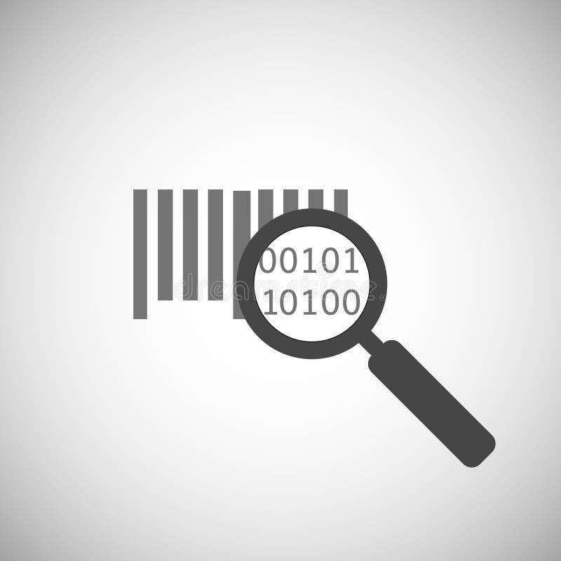 Prętowego kodu ikona Magnifier i prętowego kodu symbol badawczy prętowy kod royalty ilustracja