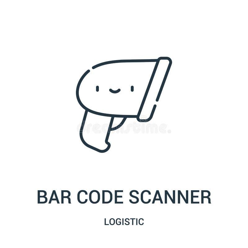 prętowego kodu przeszukiwacza ikony wektor od logistycznie kolekcji Cienka kreskowa prętowego kodu przeszukiwacza konturu ikony w ilustracji