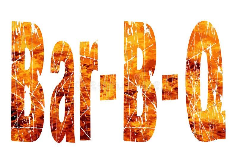 Prętowy BQ tekst W płomieniach ilustracji