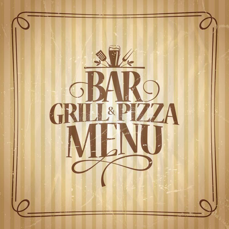 Prętowy grilla i pizzy menu royalty ilustracja