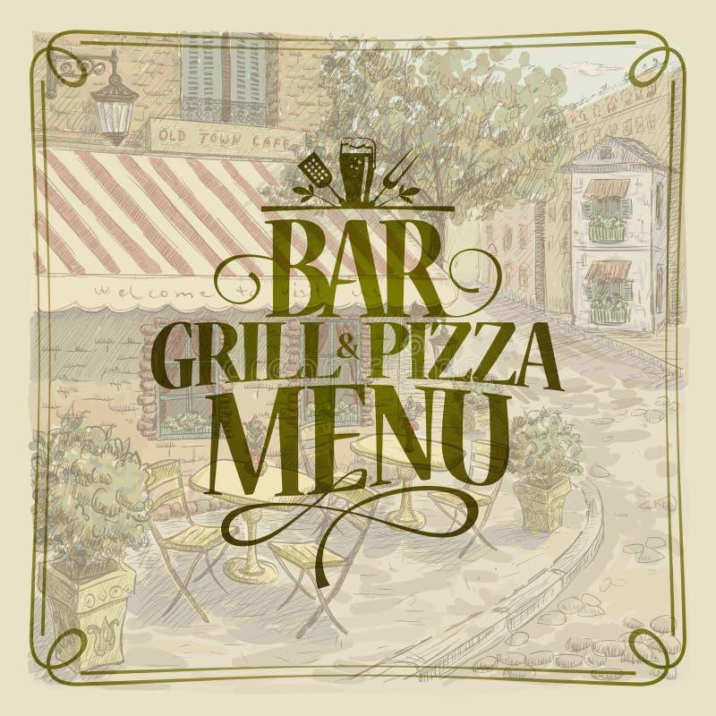 Prętowy grilla i pizzy menu, retro stylowa graficzna ilustracja royalty ilustracja