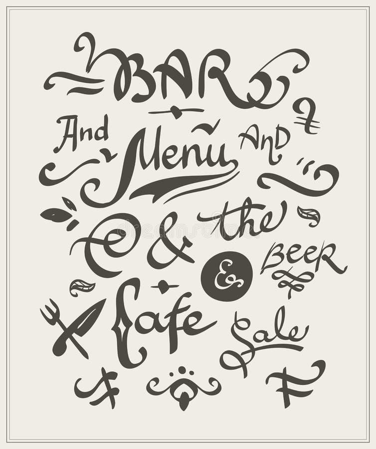 Prętowy i cukierniany menu ilustracji