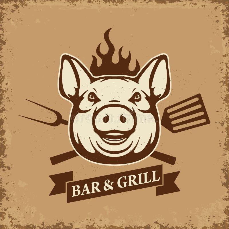 Prętowy i grill Świni głowa z kuchni narzędziami na grunge tle ilustracji