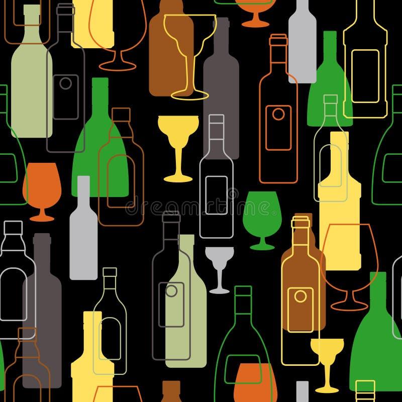 Prętowy kolorowy wzór z alkohol butelkami ilustracja wektor