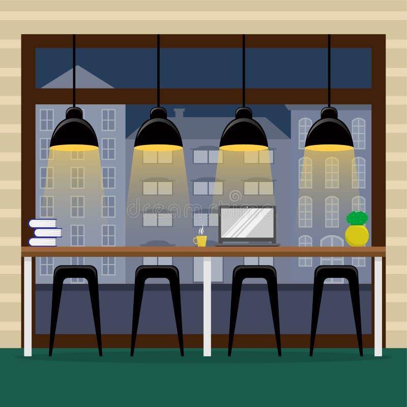 Prętowy kontuar przy panoramicznym okno w kawowym domu 1 lotu ptaka s ilustracja wektor