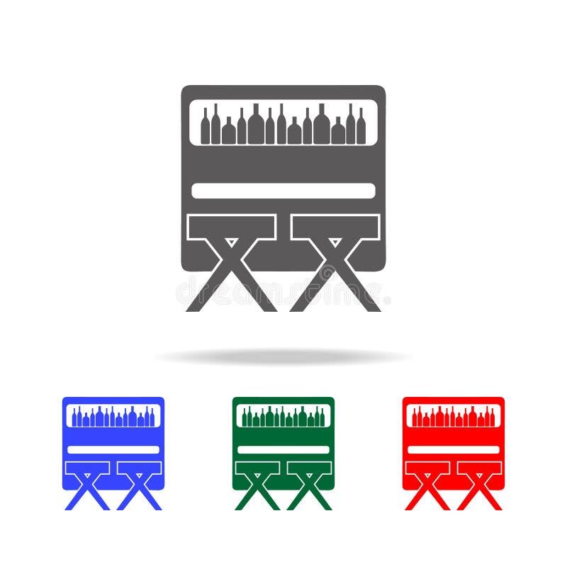 Prętowy kontuar z stolec ikoną Elementy dyskoteka i nocy życia wielo- barwione ikony Premii ilości graficznego projekta ikona Pro royalty ilustracja