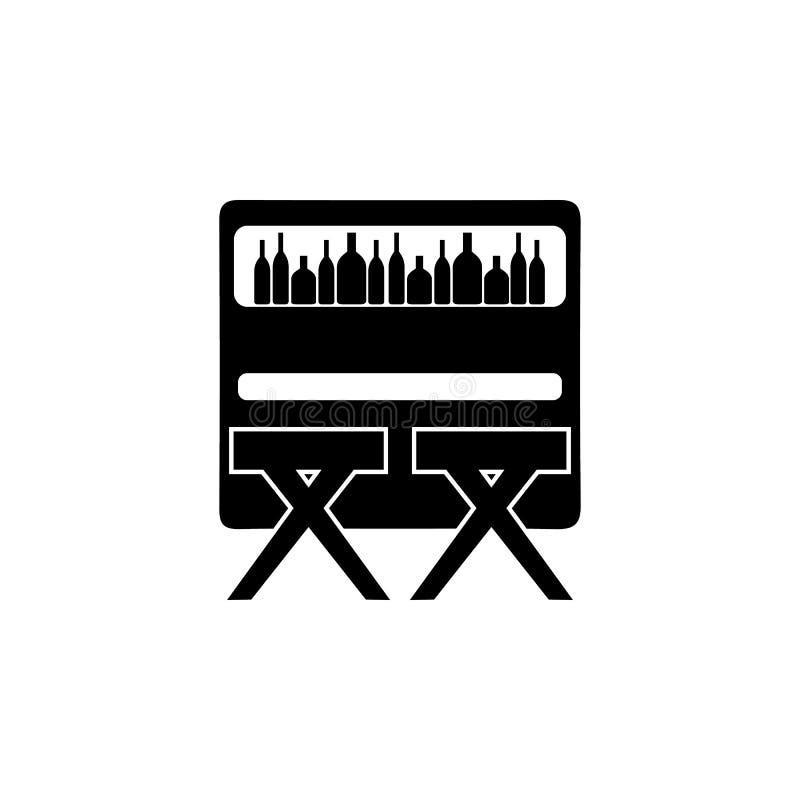 Prętowy kontuar z stolec ikoną Noc klubu ikona Element miejsce rozrywki ikona Premii ilości graficzny projekt Znaki, outl royalty ilustracja