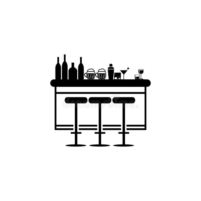 Prętowy kontuar z stolec ikoną Noc klubu ikona Element miejsce rozrywki ikona Premii ilości graficzny projekt Znaki, outl ilustracji