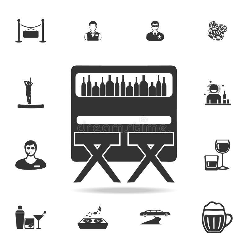 Prętowy kontuar z stolec ikoną Szczegółowy set nocy dyskoteki i klubu ikony Premii ilości graficzny projekt Jeden kolekcja ic ilustracja wektor