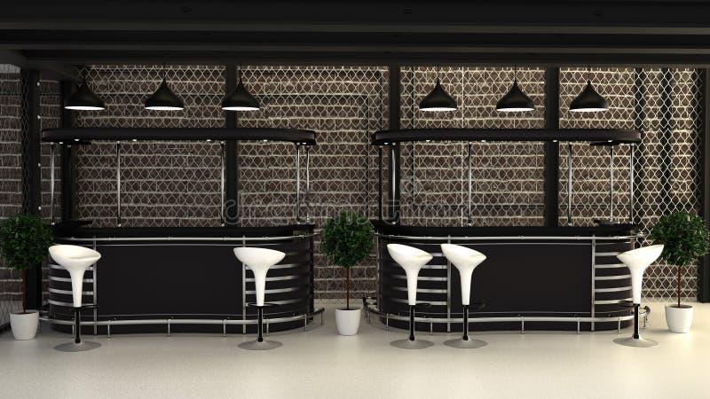 Prętowy loft styl, Prętowego pokoju wewnętrzny projekt ?wiadczenia 3 d royalty ilustracja