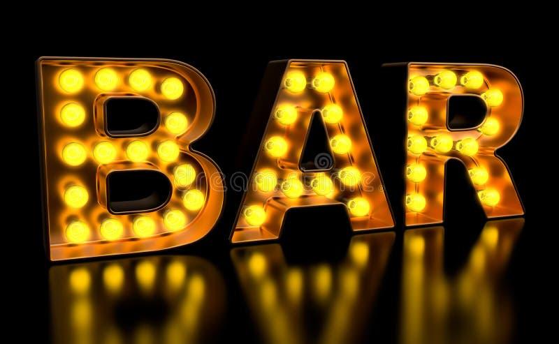 Prętowy signboard od złotych żarówka listów, retro rozjarzona chrzcielnica ?wiadczenia 3 d ilustracja wektor