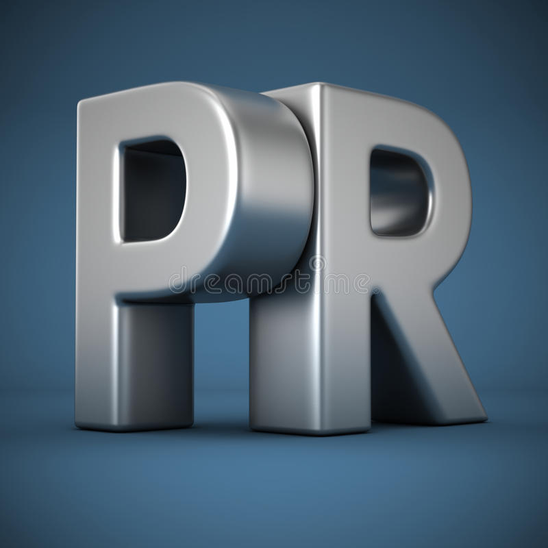 PR on blue stock photography