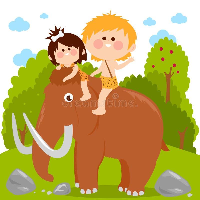 Pr?historische Landschaft mit den Kindern, die ein Mammut reiten lizenzfreie abbildung