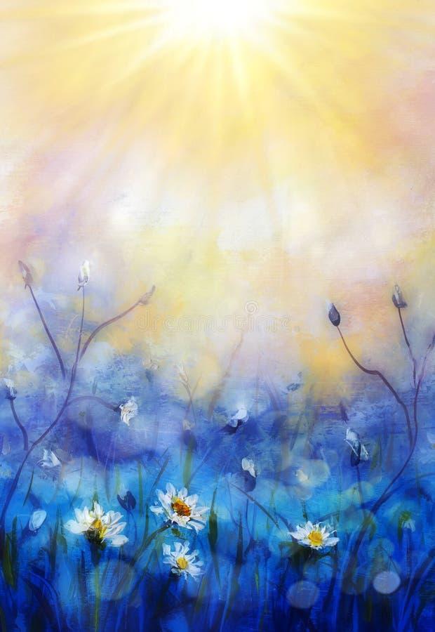Pr?mulas das flores brancas da floresta da pintura da mola no macro ensolarado bonito do fundo Fundo delicado borrado dos azul-c? foto de stock