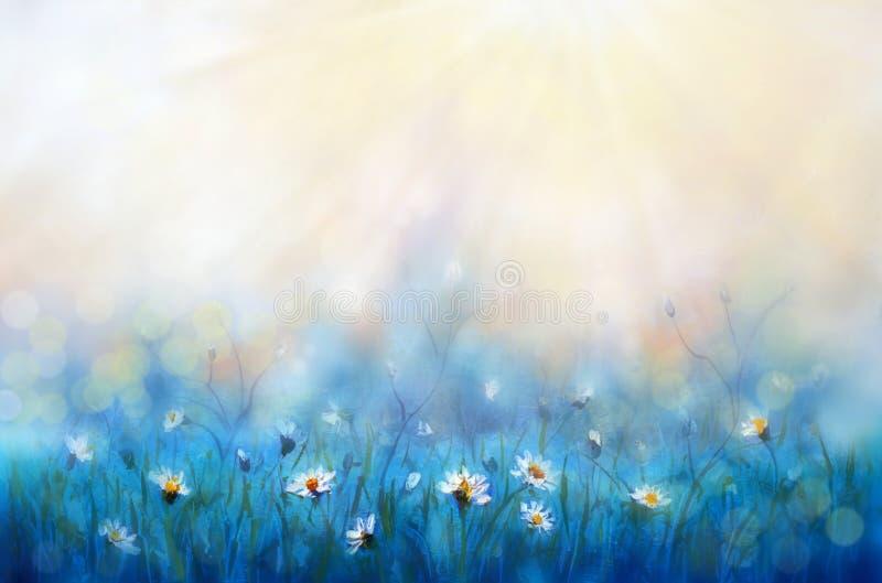 Pr?mulas das flores brancas da floresta da pintura da mola no macro ensolarado bonito do fundo Fundo delicado borrado dos azul-c? fotografia de stock