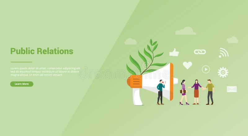 Pr or public relation with people team for website template or banner landing homepage - vector. Illustration stock illustration