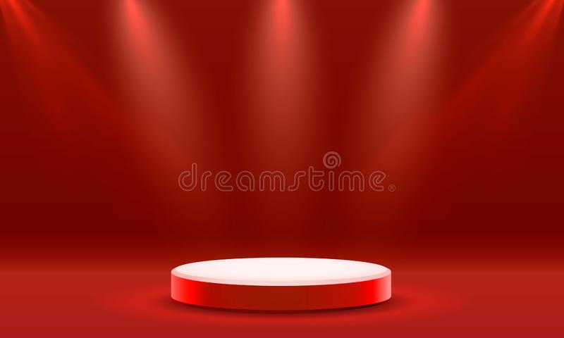 Pr?sentez le podium avec l'?clairage, sc?ne de podium d'?tape avec pour la c?r?monie de remise des prix sur le fond rouge illustration stock