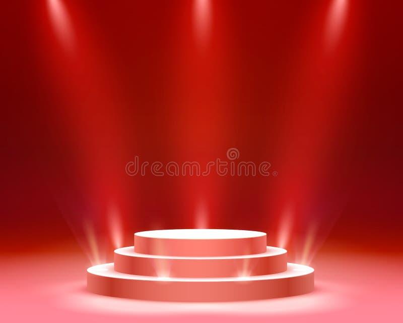 Pr?sentez le podium avec l'?clairage, sc?ne de podium d'?tape avec pour la c?r?monie de remise des prix sur le fond rouge illustration libre de droits