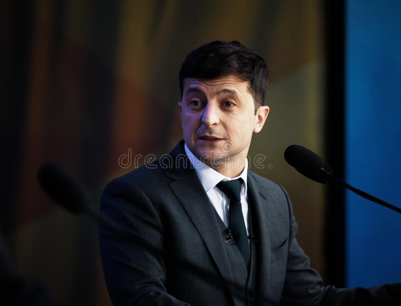 Pr?sident nouvellement ?lu de l'Ukraine Vladimir Zelensky image libre de droits