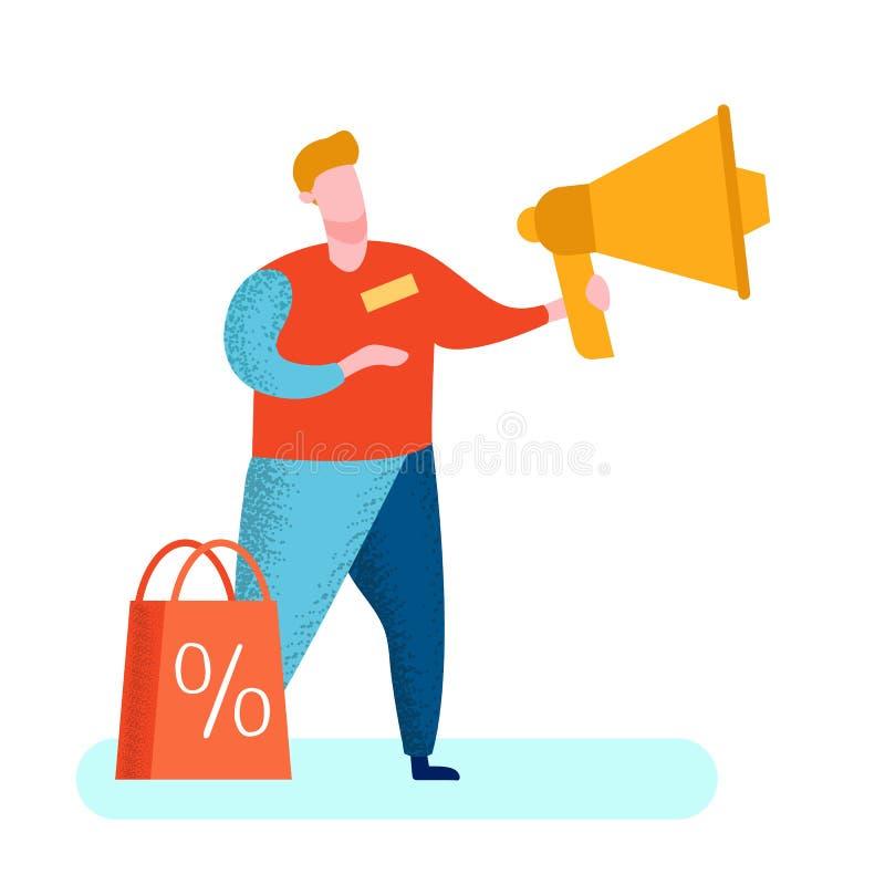 PR sprzedawca z megafonu wektoru ilustracją ilustracja wektor