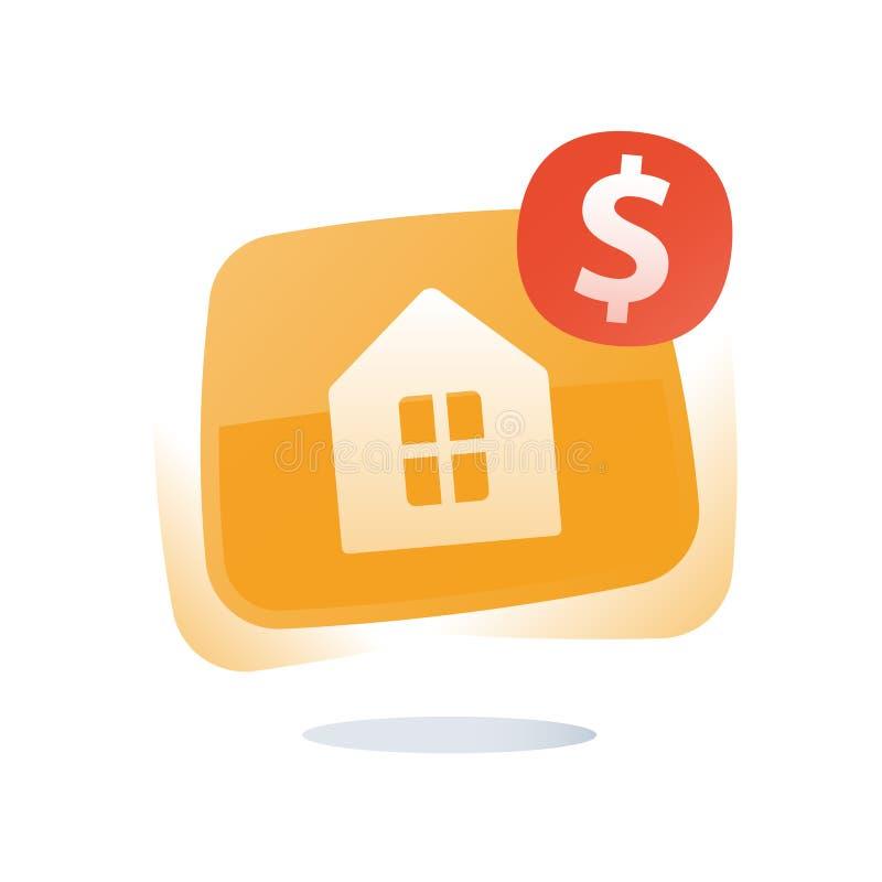 Pr?stamo de hipoteca, propiedades inmobiliarias, casa de la compra, hogar de la venta, servicios de alquiler, finanzas e inversi? libre illustration