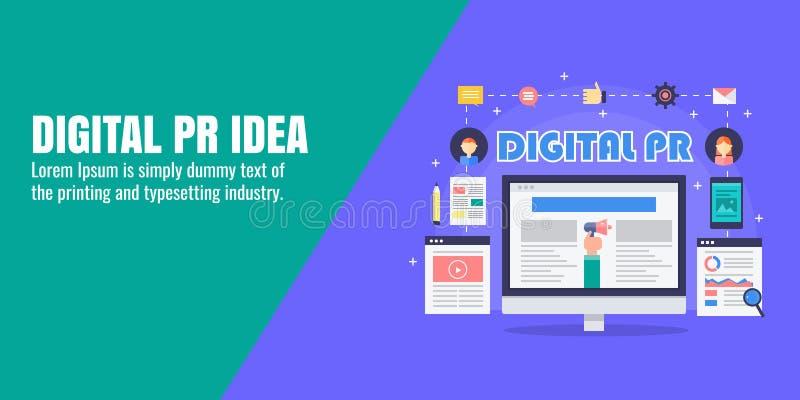 PR-strategie, digitale persmededeling, nieuwspublicatie, online tijdschrift, inhoud marketing concept Vlakke ontwerpbanner stock illustratie