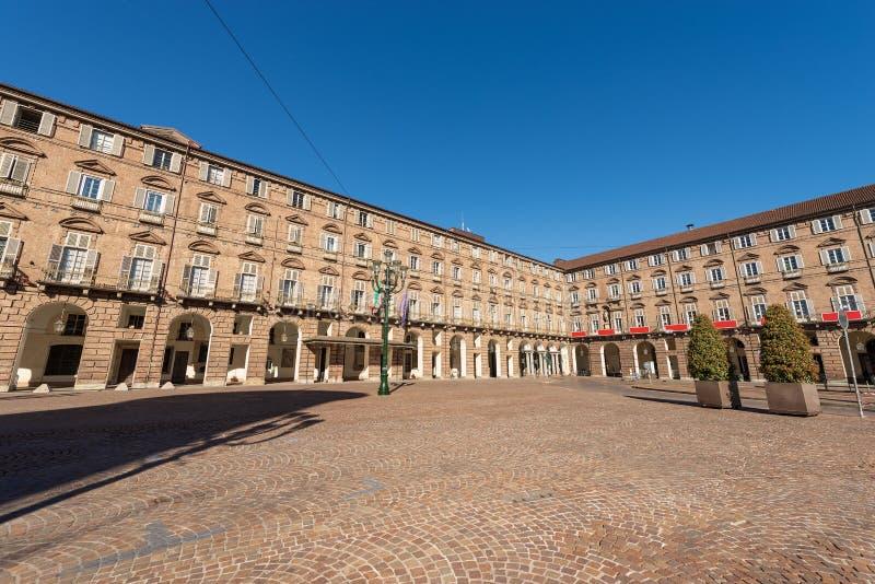 Praça Castello - quadrado do castelo em Turin Piedmont Itália imagem de stock