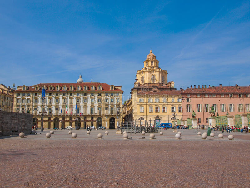 Praça Castello Turin fotografia de stock royalty free