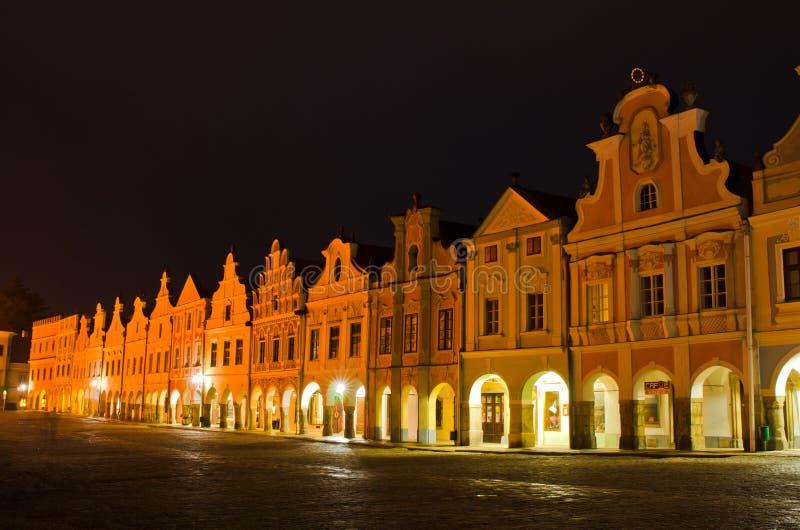 Praça da cidade central, Telc, república checa. imagem de stock