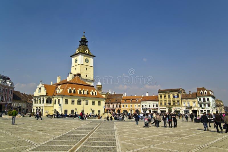 Praça da cidade de Brasov foto de stock royalty free