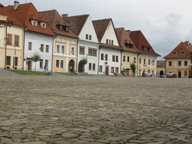 Praça da cidade em Bardejov fotografia de stock