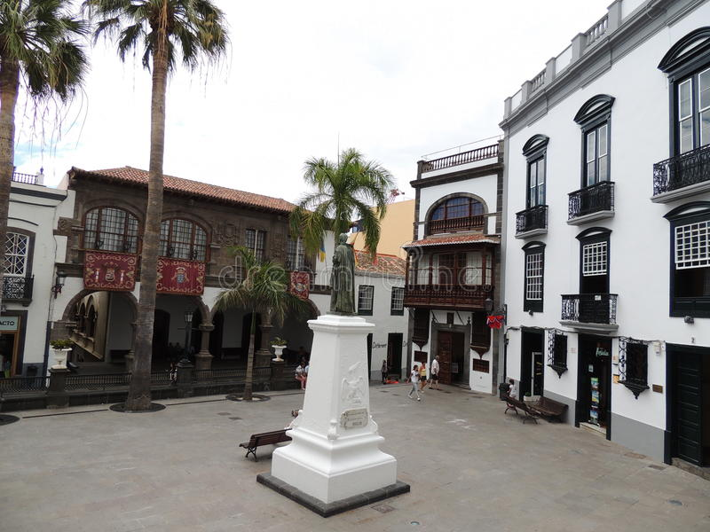 Praça da cidade em Santa Cruz, La Palma, Ilhas Canárias, Espanha imagens de stock